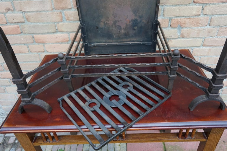 Hand Forged Arts & Crafts Era Wrought Iron Fireplace with Dragon Sculpture & Ash For Sale 10