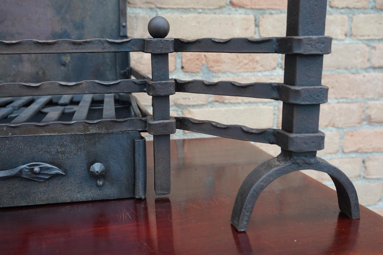 Hand Forged Arts & Crafts Era Wrought Iron Fireplace with Dragon Sculpture & Ash For Sale 3