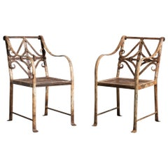 Hand-Forged English Regency Iron Garden Chairs, 19th Century
