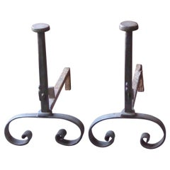 Hand Forged French Napoleon III Andirons or Firedogs, 19th Century