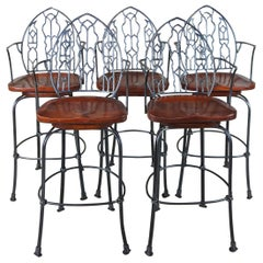 Hand Forged Iron and Mahogany Gothic Spanish Revival Swivel Counter Bar Stools