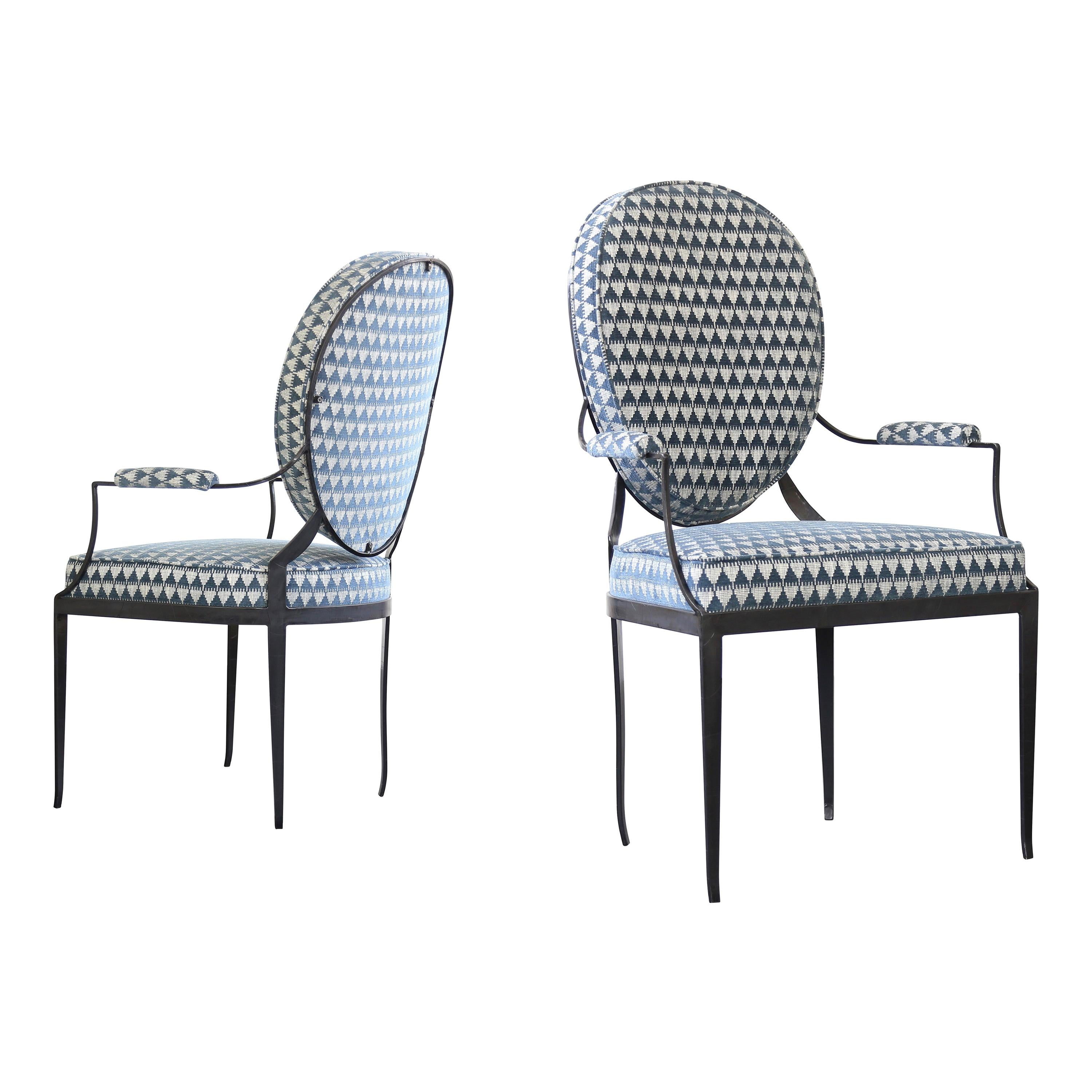 Hand Forged Iron Chair in Style of Andre Arbus, from Costantini, Customizable