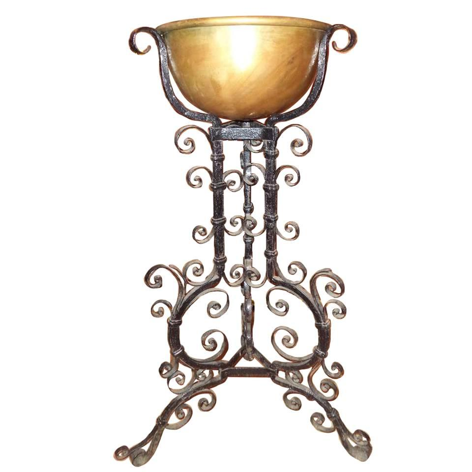 Hand Forged Iron Plant Stand In The Manner Of Samuel Yellin For Sale