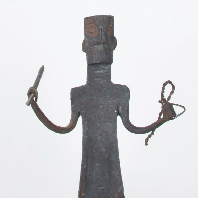 Hand Forged Iron Spear Tribal Warrior Sculpture Antique African Dogon, 1920s For Sale 1
