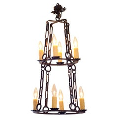 "Hand Forged Iron Two-Tier ""Richland"" Chandelier"