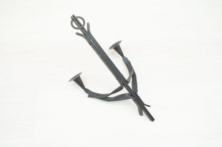 Hand Forged Iron Wall Mounted Candleholders from France, 1960s, Set of 4 For Sale 3