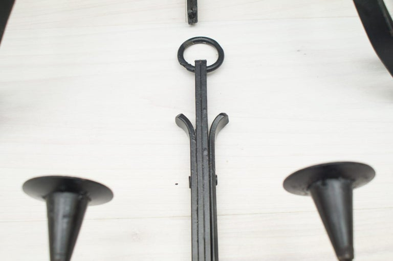Hand Forged Iron Wall Mounted Candleholders from France, 1960s, Set of 4 For Sale 7