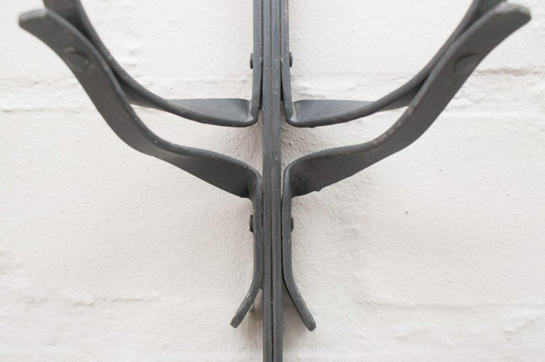 Hand-Crafted Hand Forged Iron Wall Mounted Candleholders from France, 1960s, Set of 4 For Sale