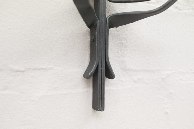 Hand Forged Iron Wall Mounted Candleholders from France, 1960s, Set of 4 In Good Condition For Sale In Nürnberg, Bayern