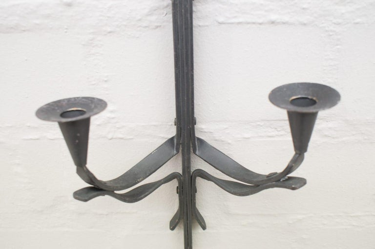 Hand Forged Iron Wall Mounted Candleholders from France, 1960s, Set of 4 For Sale 2