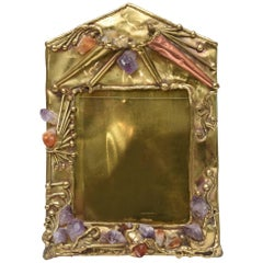 Hand Forged One of Kind Brass, Mixed Metal, Amethyst & Quartz Picture Frame