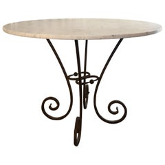 Hand Forged Spanish Iron Table with Carrara Marble Top