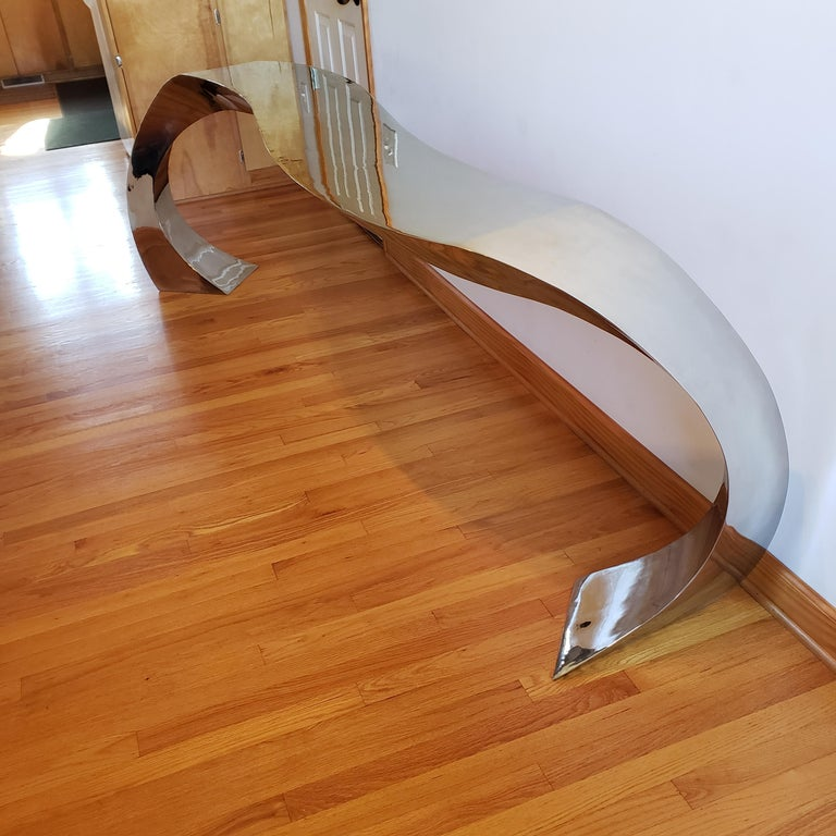 Hand Forged Stainless Steel Console by Curtis Norton Sculptural For Sale 6