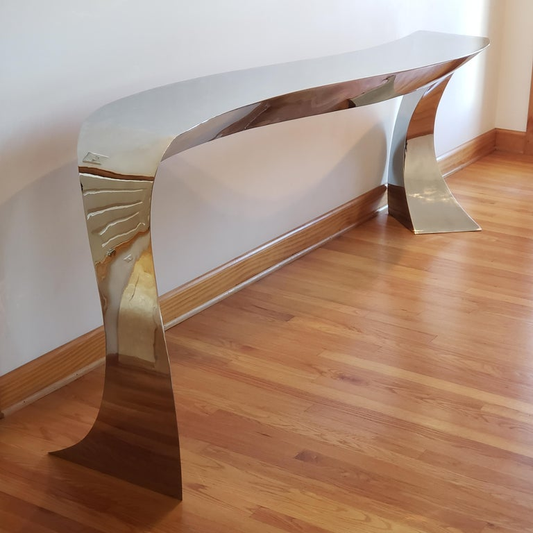 Hand Forged Stainless Steel Console by Curtis Norton Sculptural For Sale 9