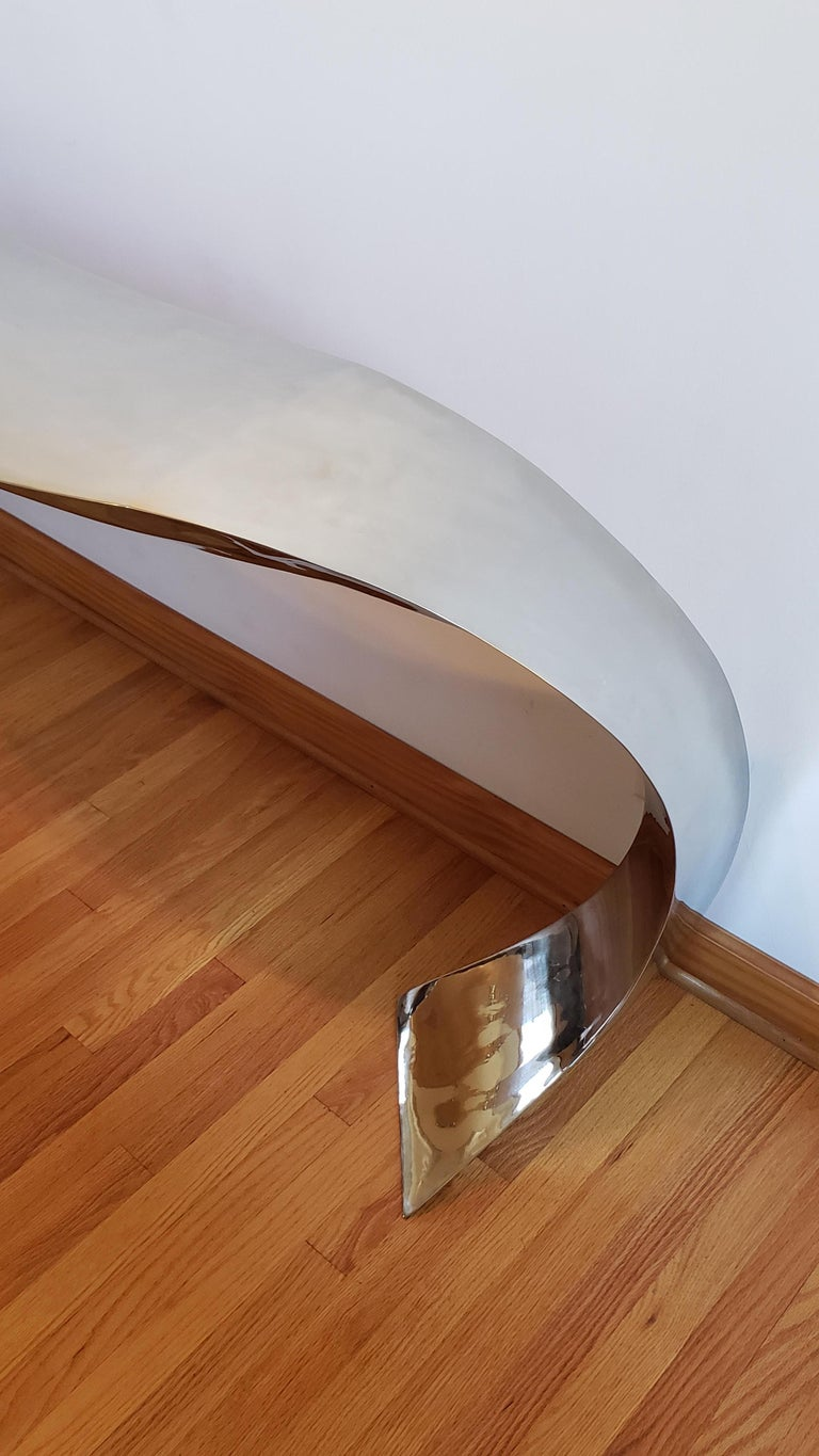 American Hand Forged Stainless Steel Console by Curtis Norton Sculptural For Sale