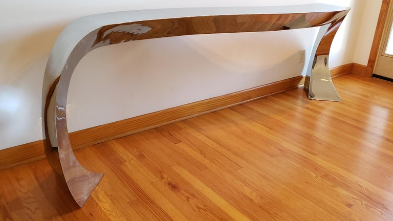 Hand Forged Stainless Steel Console by Curtis Norton Sculptural In Excellent Condition For Sale In Kilmarnock, VA