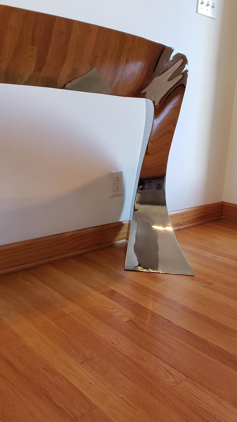 Contemporary Hand Forged Stainless Steel Console by Curtis Norton Sculptural For Sale