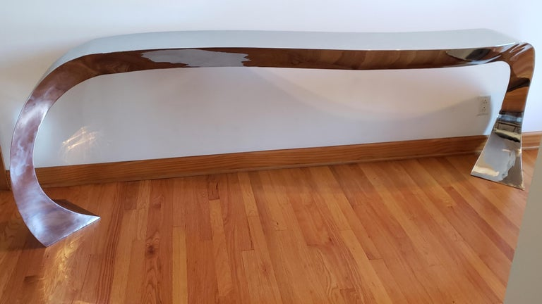Hand Forged Stainless Steel Console by Curtis Norton Sculptural For Sale 2