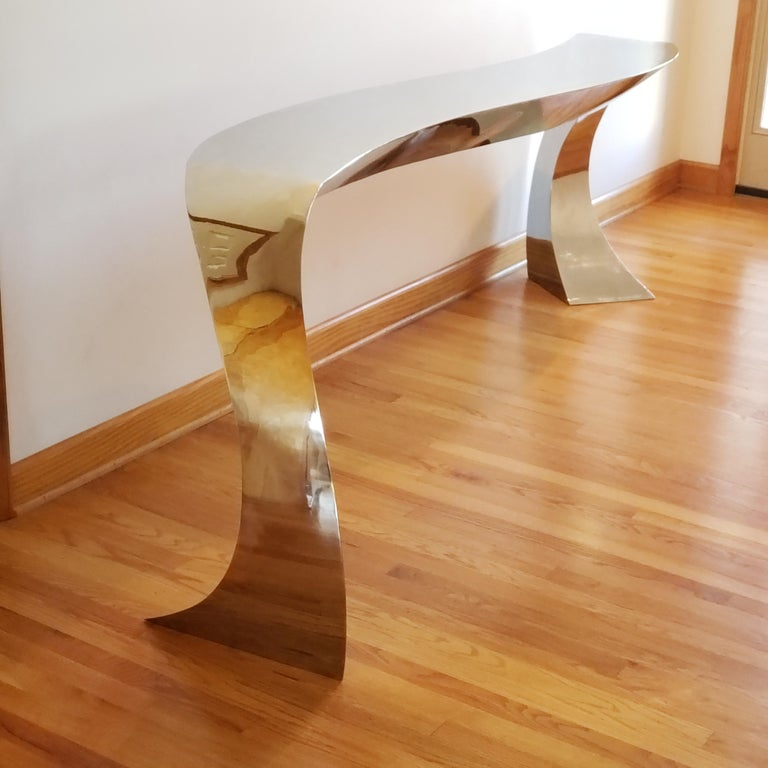 Hand Forged Stainless Steel Console by Curtis Norton Sculptural For Sale 3