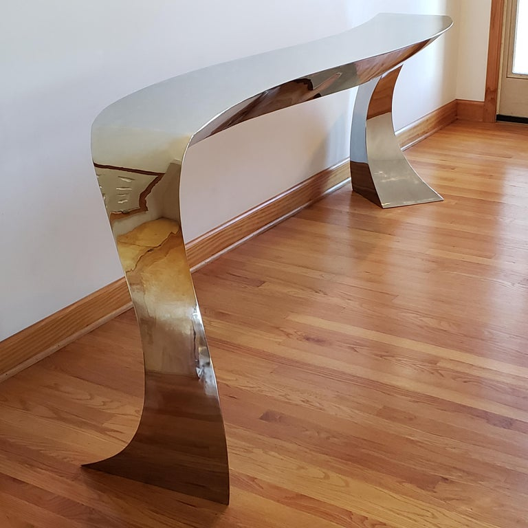 Hand Forged Stainless Steel Console by Curtis Norton Sculptural For Sale 4