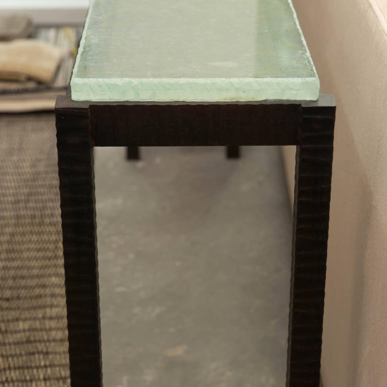 Hand-Forged Steel and Cast Glass Console Table by Gregory Clark In New Condition For Sale In Darien, CT
