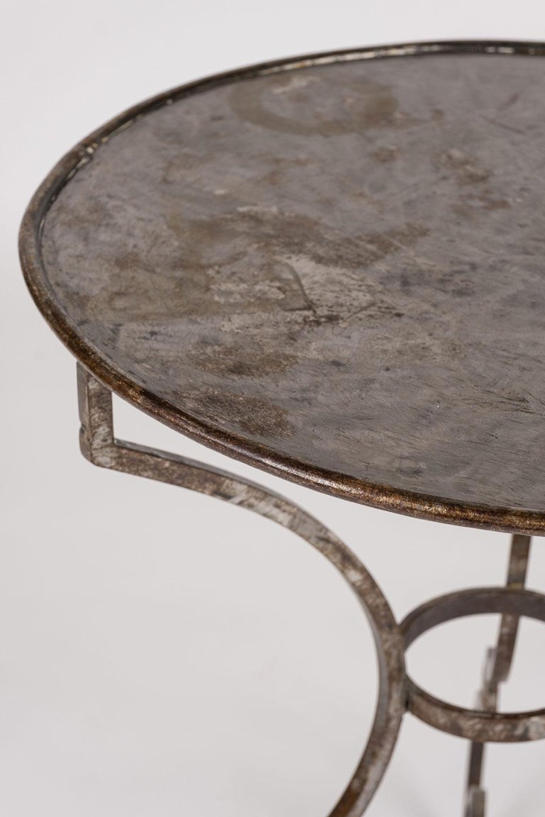 French Provincial Hand Forged Steel Garden Table For Sale