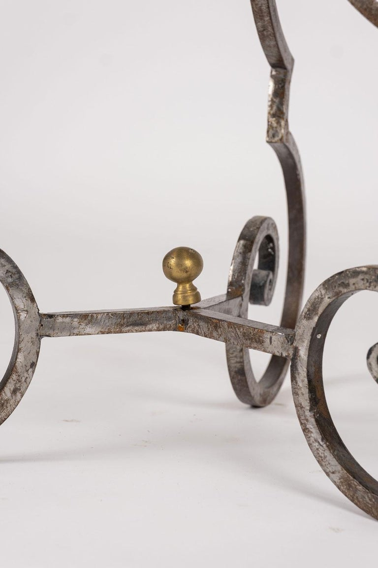 Brass Hand Forged Steel Garden Table For Sale