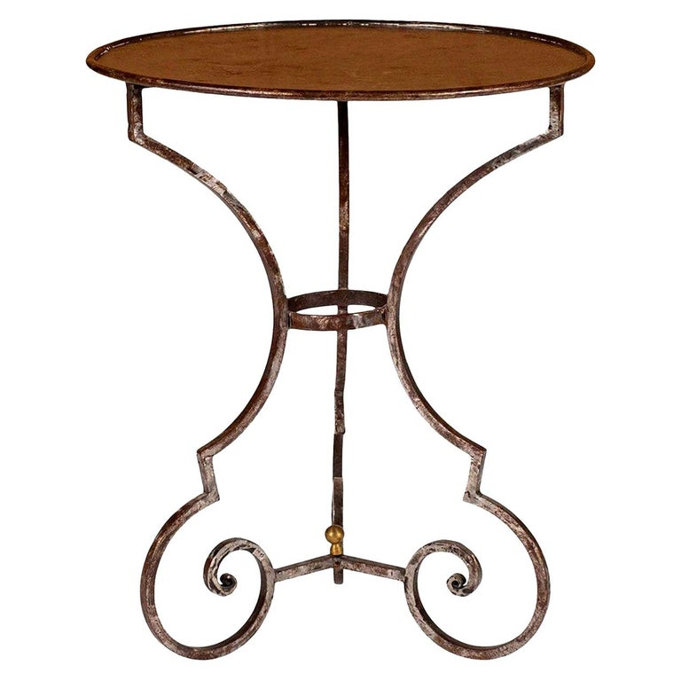 Hand Forged Steel Garden Table For Sale