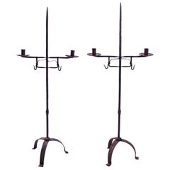 Hand Forged Wrought Iron Candelabras