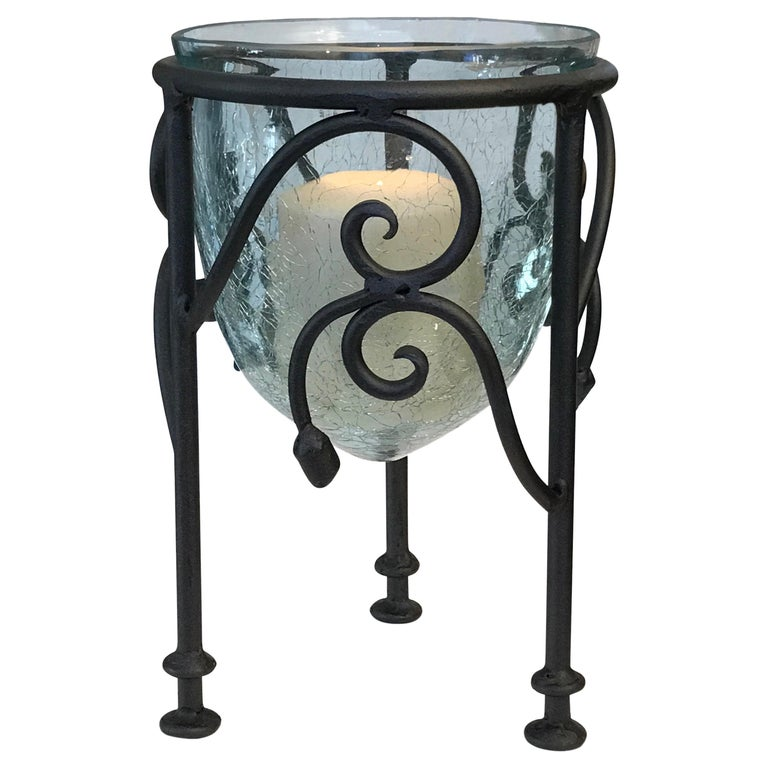 Hand-Forged Wrought Iron Candleholder  For Sale