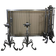Hand Forged Wrought Iron Fireplace Set Made Up of Screen, Tools and Andirons