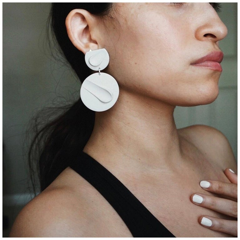 Shape + Form Hand Formed Lightweight Clay Smear Earring For Sale