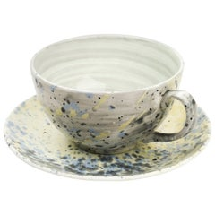 Hand Glazed Fine Bone China Large Cup and Saucer with Expressionist Design