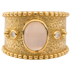 18 Karat Gold Ring with Oval Cabochon Moonstone Gem and Diamonds
