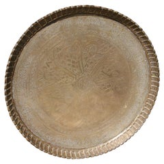 Hand Hammered Brass Middle Eastern Moorish Serving Tray