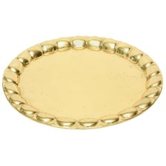 Hand-Hammered Brass Monumental Serving Tray Barware