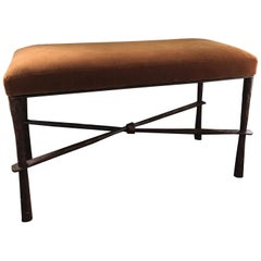 Hand-Hammered Brutalist Bench with Mohair Cushion, Giovanni Bani Style