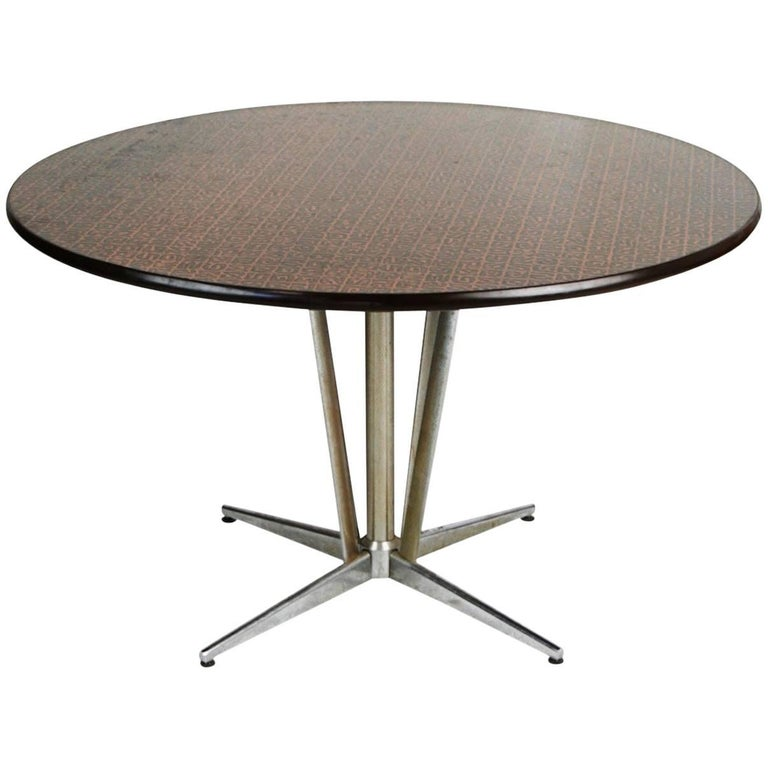 Copper Dining Room Tables: Hand-Hammered Copper Top Circular Dining Table, Circa 1960