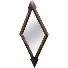 Hand-Hammered Diamond Shape Copper Arts and Crafts Wall Mirror with Candle Stick
