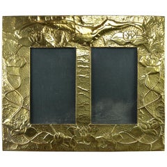 Hand-Hammered Embossed Copper Double Picture Frame with Bird and Flowers