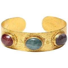 Hand-Hammered Gold Tourmaline Cuff