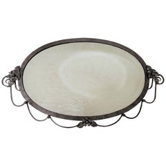 Hand hammered iron Art Deco Hand Forged Oval Mirror attrib. to Francois Carion