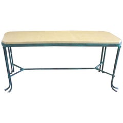 Vintage Hammered Iron Console with Crackled Wood Top
