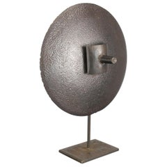 Hand-Hammered Iron Disc Sculpture with Center Handle