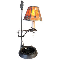 Hand-Hammered Lamp with Mica Shade