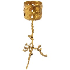 Spanish 1950s Hand-Hammered Ornamental Gilt Iron Planter / Bottle Stand