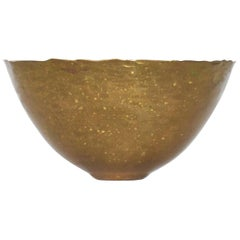 Hand Hammered Scalloped Brass Bowl Fairthorne Studios Canada 1994