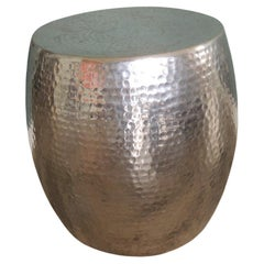Hand Hammered Silver Color Drum or Side Table