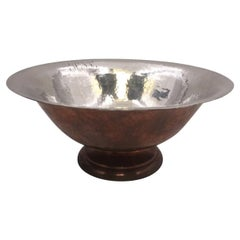 Hand Hammered Sterling Silver and Copper Centerpiece Bowl by Gebelien
