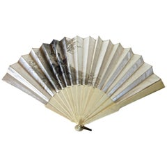 "Hand Held 19th Century Fan. Signed ""Aug Lauronce"", French, circa 1885"